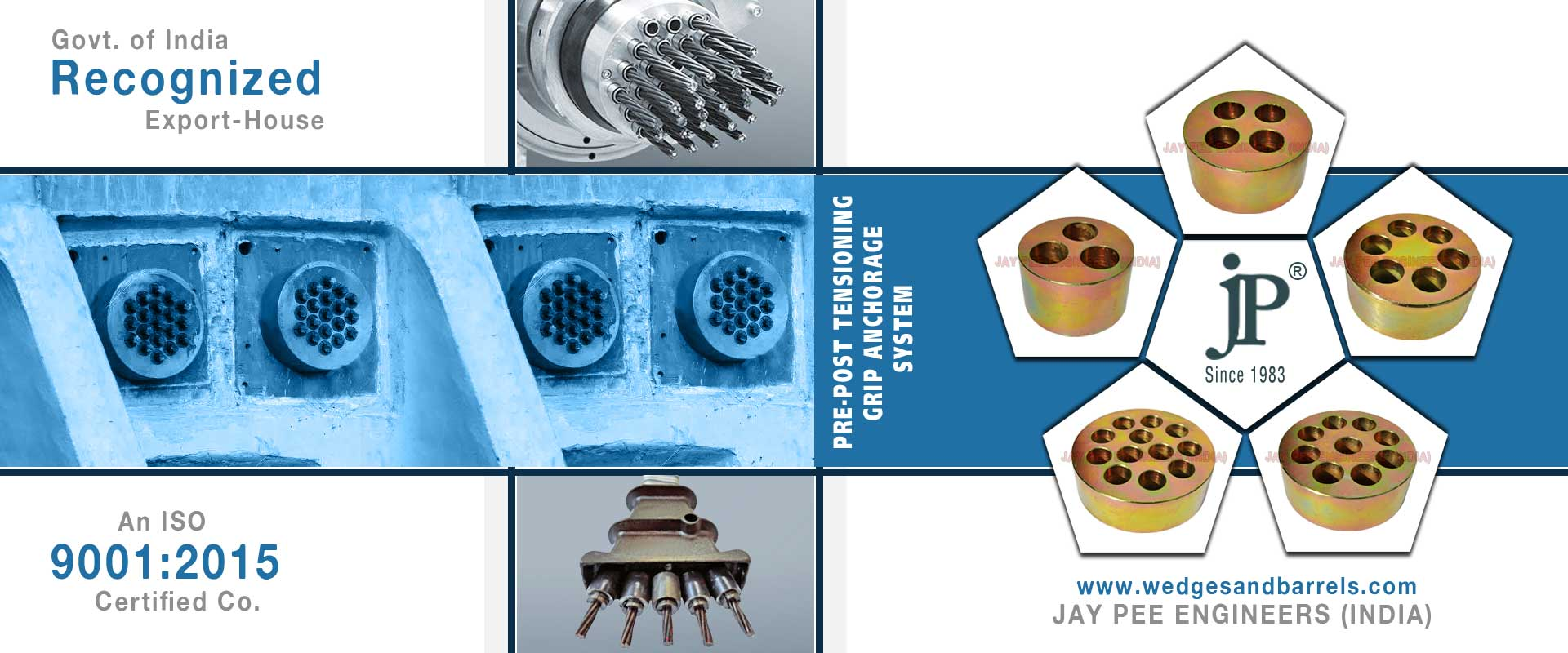 Anchor Wedges and Barrels - Prestressing Wedges and Barrels - Anchorite Wedges - Tapered Barrels - Anchor Grips Wedges - Open Grip barrels and Wedges - building components bridge barrel & wedge - Gripfast Wedges manufacturers suppliers exporters in india punjab ludhiana
